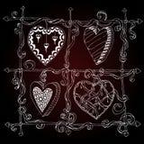 Original drawing doodle hearts. Stock Photo