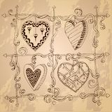Original drawing doodle hearts. Stock Images