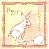 Original drawing of easter bunny with egg Royalty Free Stock Photos