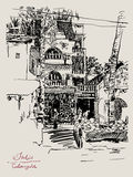 Original drawing of India Goa Calangute Baga Royalty Free Stock Photography