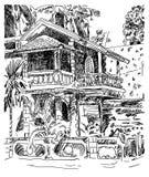 Original drawing of India Goa Calangute Baga landscape street, t Royalty Free Stock Image