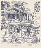 Original drawing of India Goa Calangute Baga landscape street, t Royalty Free Stock Photos