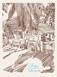 Original drawing of India Goa Calangute Baga landscape street Royalty Free Stock Images