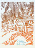 Original drawing of India Goa Calangute Baga landscape street Stock Photos
