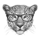 Original drawing of Leopard with mirror sunglasses. Isolated on white background Royalty Free Stock Photography