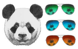 Original drawing of Panda with mirror sunglasses. Isolated on white background Royalty Free Stock Photo
