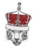 Original drawing of Tiger with crown. Isolated on white background Royalty Free Stock Photo