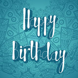 Original drawn happy birthday phrase. Hand lettering calligraphic composition. Vector greeting card Royalty Free Stock Photo