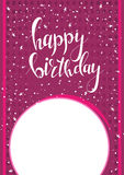 Original drawn happy birthday phrase. Hand lettering calligraphic composition. Vector greeting card Royalty Free Stock Image
