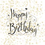 Original drawn happy birthday phrase. Hand lettering calligraphic composition. Vector greeting card Royalty Free Stock Photography