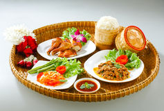 Original du nord-est thaï de type de nourriture Photographie stock