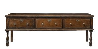 Old antique dresser base. Original early English oak dresser base serving table isolated with clip path stock images