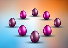 Original Easter design template with glossy 3D egg with shadows Stock Photo