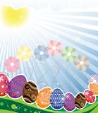 Original Easter eggs  on a spring meadow Royalty Free Stock Photos