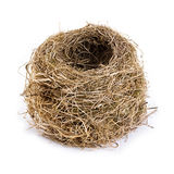 Original empty bird's nest close-up isolated on a white background. Royalty Free Stock Images