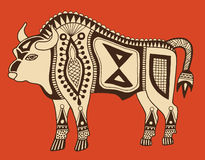 Original ethnic tribal bison drawing Royalty Free Stock Images