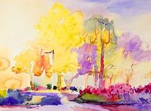 Original- färgrikt för abstrakt vattenfärgmålning av trädgårds- skönhet vektor illustrationer