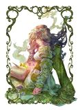 Original fantasy portrait illustration of a beautiful ethereal female elf. With a magic book in curly frame stock illustration