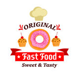 Original fast food sweet and tasty donut, muffin Stock Photo