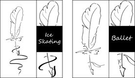 Original Feather pen set for ice skating and ballet dancing. Black and White . Royalty Free Stock Images