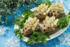 Original festive snack in form of funny hedgehogs stock photos