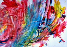 Original finger painting by a 2 year old stock photography