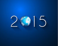 Original 2015 flat style  new year modern background. With 3D style earth and soft shadows Stock Image
