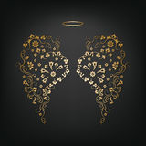 Original floral angel wings and Nimbus Stock Image