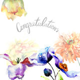 Original floral background with flowers and title Congratulation Stock Photography