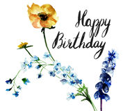 Original floral background with flowers and title Happy Birthday Royalty Free Stock Photography