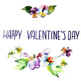 Original floral background with flowers and title Happy Valentin. E's day, watercolor illustration Royalty Free Stock Photo