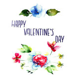 Original floral background with flowers and title Happy Valentin Stock Photography