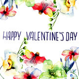 Original floral background with flowers and title Happy Valentin Stock Images