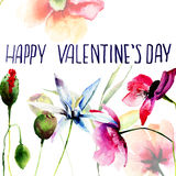 Original floral background with flowers and title Happy Valentin Royalty Free Stock Images