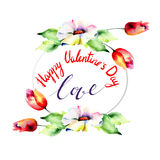 Original floral background with flowers and title love Stock Photos