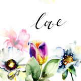 Original floral background with flowers and title LOVE Royalty Free Stock Photography