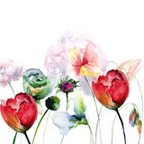 Original floral background with flowers Stock Photography