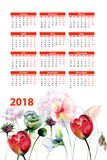 Original floral 2018 calendar with flowers. Watercolour illustration Stock Photo
