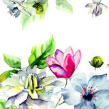 Original floral card with flowers Stock Photography
