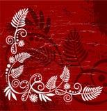 Original floral corner on red background Royalty Free Stock Images