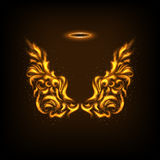 Original floral Fire Angels wings and Nimbus Stock Photo