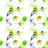 Original floral seamless pattern. Hand painted drawing Stock Photo