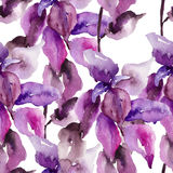 Original floral seamless wallpaper. Watercolor illustration Stock Images
