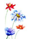 Original flowers illustration Stock Photos