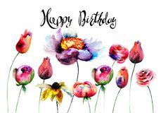 Original flowers with title Happy Birthday. Watercolor illustration, Hand drawn lettering design Royalty Free Stock Images