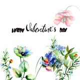 Original flowers with title Happy Valentine's day. Original flowers with title Happy Valentine's day, watercolor illustration Stock Image