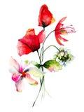 Original flowers watercolor illustration Stock Images