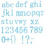 Original font, all alphabet. The crushed blue chalk stock photos