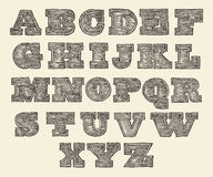Original Font Wild West Wood Vintage Engraved Stock Photos