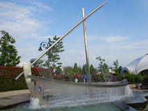 Original fountain in the form of boat, in the city park Sochi, Russia. Beautiful fountain in the form of boat, people walking, Sochi Park, Russia stock photo